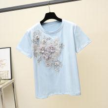 Camiseta feminina de algodão bordado flor da moda