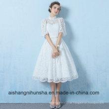 A-Line White Lace kurze halbe Hülse Abend Party Prom Dress