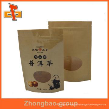Встать ziplock коричневый крафт-бумажный пакет с прозрачным окошком для упаковки чая puer / chrysanthemum
