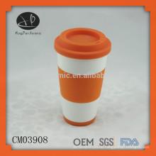 Heißer Verkauf Porzellan keine Griff Tasse mit Silikon-Deckel, Keramik Reisebecher