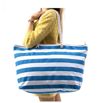 Stor Stripe Canvas Beach Bag Med Vattentät Foder