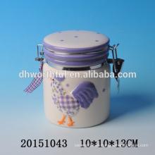 Recipiente cerámico de cerámica de cocina con pintura de gallo