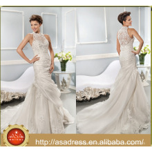 ASWY15 100% Real Pictures Mermaid Crystal Bride Gown Wedding Dress with Jacket