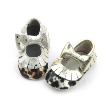 Cute Leopard Bow Girls Baby Moccasins Shoes