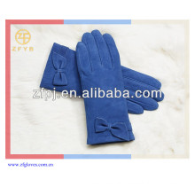 Custom Fashion Suede Lady Hand Glove With Bowknot
