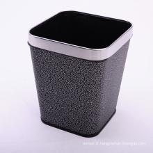 Cuir Couvert Ouvert Top Argent Nuage Design Dustbin