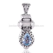 Blue Topaz e Pearl Gemstone 925 Pingente de prata sólida