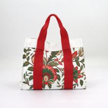 Custom Women Floral Canvas Shoulder Tote Bag