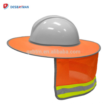 Top Quality HI VIZ Orange Full-Brim Safety Sunshield, 100% Polyester Mesh Cool Neck Sunshade for Hardhats With Reflective Strips