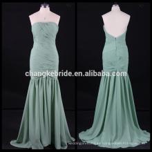 2017 nuevo vestido de noche sin tirantes de sirena de gasa plisados vestido de ocasionales de espalda baja