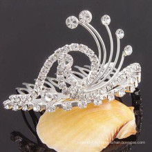 Модный металлический посеребренный кристалл тиара клип