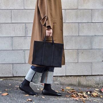 2021 Fashion Commuting Black Canvas Bags Tote Cotton Shopping Bag for Women