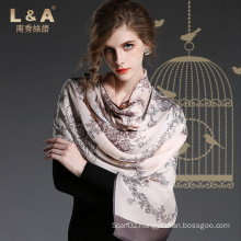 Silk Chiffon Double Scarf Black Flower Prints for Women Scarves Sp20-2