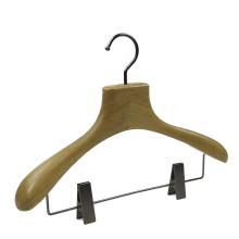 Custom luxury trousers wooden pant hanger with clips