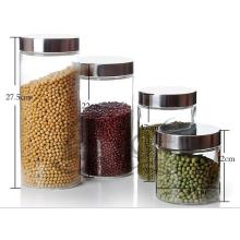 Glass Food Storage Jar with Stainless Steel Lids