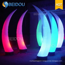 Decoration Inflatable Cones Ivory Tusk LED Column Arch Tube