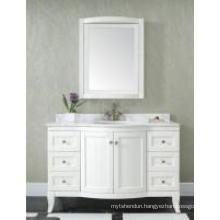 Wooden White One Main Cabinet Mirrored Modern Bathroom Cabinet (JN-8819717C)