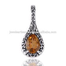 Citrine Gemstone 925 Solid Silver Pendant Jewelry