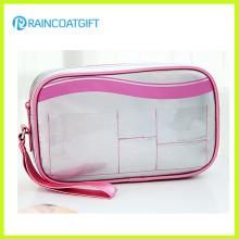 Mesdames argent PVC / PU portable maquillage Pouch Rbc-045