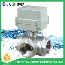 3 voies en acier inoxydable 304 Valve à bille d'eau motorisée (T25-S3-C)