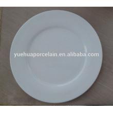 Großhandel keramischen weißen Porzellan Runde Abendessen flachen Platte