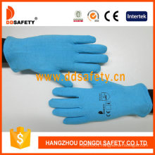 100% Blue Cotton or Polyester Gloves Reversible with Hem