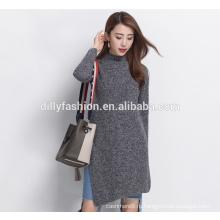 Мода разрез стороны кашемира вязать свитер женщин шею длинный свитер