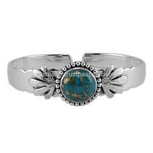 Gorgeous Blue Copper Gemstone & 925 Brazalete de plata sólido de plata del diseñador para el regalo