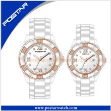 Moda simples e relógio de cerâmica clássico para casal Lover Watch