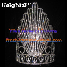 8-Zoll-Clear Crystal Queen Pageant Kronen