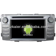 Android System lecteur dvd de voiture pour Toyota Hilux avec GPS, Bluetooth, 3G, ipod, jeux, double zone, contrôle du volant