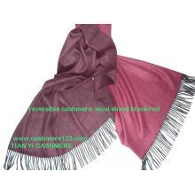 Blusão de lã de caxemira xale reversível fino