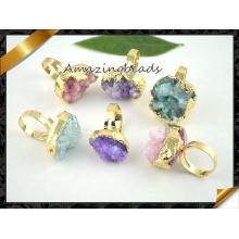 New Arrival Druzy Rings, gros anneaux en dents en pierre pour femmes (FR008)