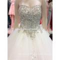 100% echte Fotos nach Maß luxuriöse V-Ausschnitt offene Heavy Crystals Perlen lange Zug Saudi Arabian Brautkleid A097