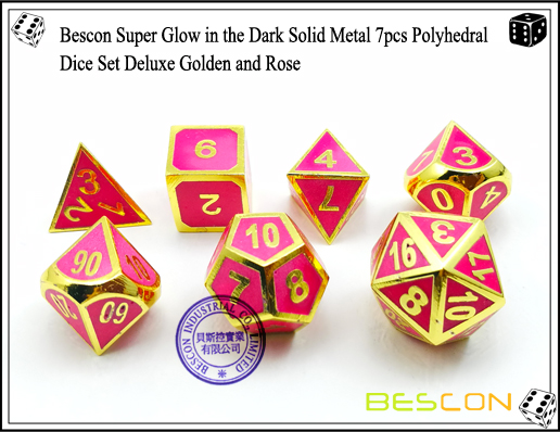 Bescon Super Glow in the Dark Solid Metal 7pcs Polyhedral Dice Set Deluxe Golden and Rose-6