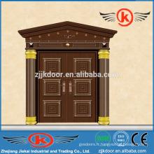 JK-C9037 villa de sécurité design unique en bois porte en cuivre