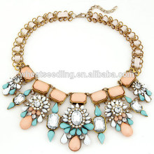 Flower latest design stone necklace 2014 for wedding gifts