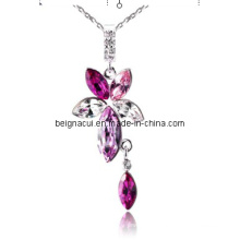 Sw Elements Crystal Rose Color Flower and Waterdrop Necklaces Jewelry