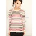 Women's Cashmere Tee Stripe Wool Sweater