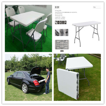 6ft Lightweight Portable HDPE Plastic Blow Mould Table/Leisure Garden Ergonomic Banquet Catering Dining Wedding Folding in Half Rectangular Table (HQ-Z180C)