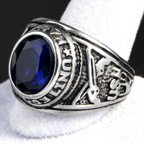 Stainless Steel sapphire Ring
