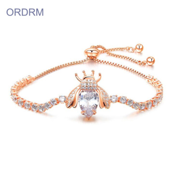 White Gold Plated Diamond Bee Charm Gelang Tenis