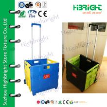 plastic easy box folding shopping trolley
