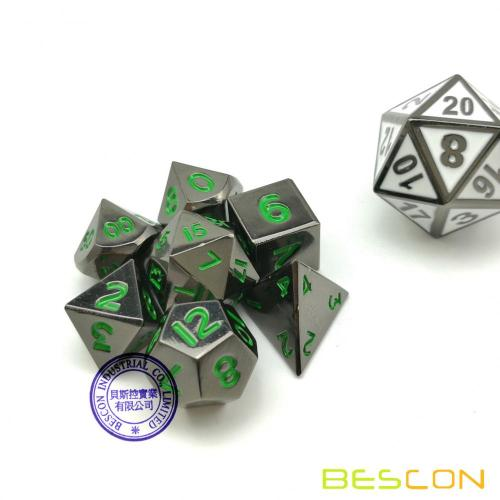 Bescon 10MM Mini Solid Metal Dice Set Glossy Black with Green Numbers, Mini Metallic Polyhedral D&D RPG Miniature Dice 7-sets