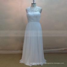 Cuello de cuello de estilo de Terse ver a través de espalda plisado de encaje de seda vestido de novia de gasa de seda