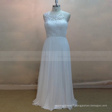Terse style scoop neck see through back pleated applique lace silk chiffon wedding dress