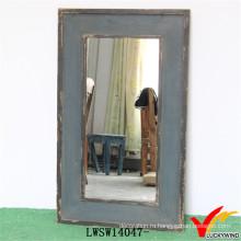 Потертый Chic Античный Синий Handmade Distressed Деревянное Зеркало