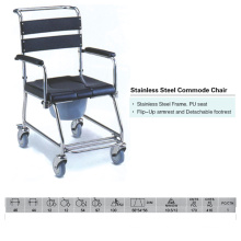 Stainless Steel Commode Chair with PU Seat