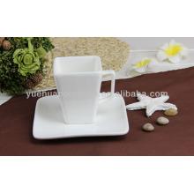 Squre branco xícara de chá de cerâmica e pires atacado
