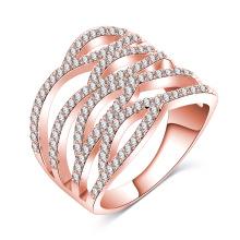 Womens 18k or rose creux bague de doigt (CRI01018)